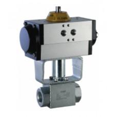 Шаровый кран, 2-ходовой, углеродистая сталь, Dn6-50, Pn350-500 BSP/NPT/приварка встык/ сварка внахлест с пневмоприводом